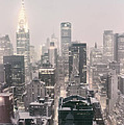 New York City - Snow Covered Skyline Art Print