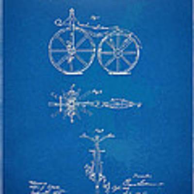 1866 Velocipede Bicycle Patent Blueprint Art Print