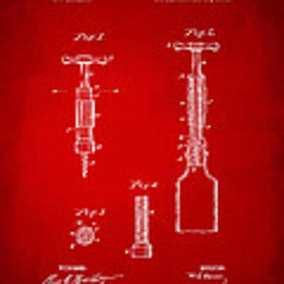 1884 Corkscrew Patent Artwork - Red Art Print