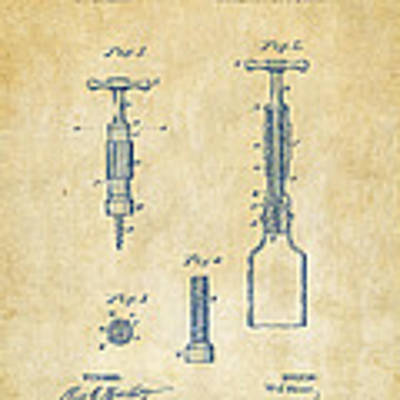 1884 Corkscrew Patent Artwork - Vintage Art Print
