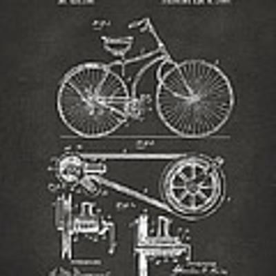 1890 Bicycle Patent Artwork - Gray Art Print