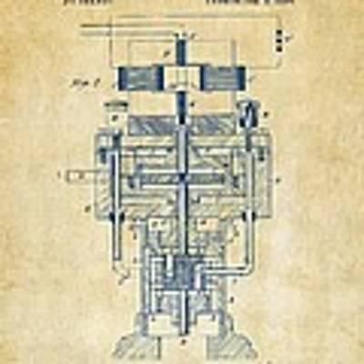 1894 Tesla Electric Generator Patent Vintage Art Print by Nikki Marie Smith