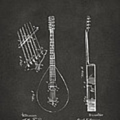 1896 Brown Guitar Patent Artwork - Gray Art Print