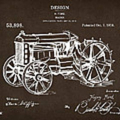 1919 Henry Ford Tractor Patent Espresso Art Print by Nikki Marie Smith