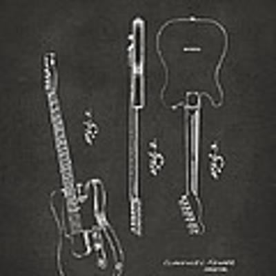 1951 Fender Electric Guitar Patent Artwork - Gray Art Print