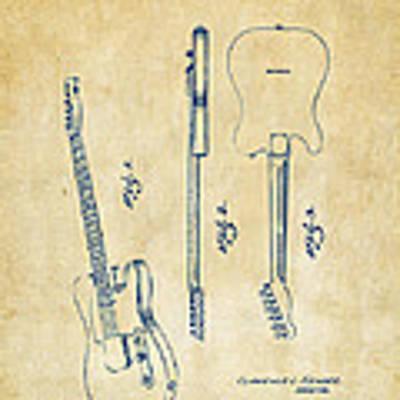 1951 Fender Electric Guitar Patent Artwork - Vintage Art Print