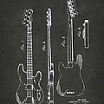 1953 Fender Bass Guitar Patent Artwork - Gray Art Print by Nikki Marie Smith