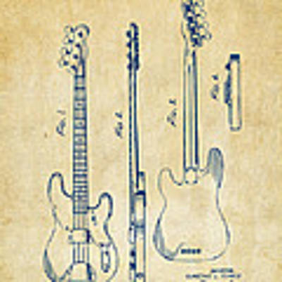 1953 Fender Bass Guitar Patent Artwork - Vintage Art Print