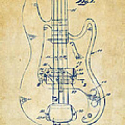 1961 Fender Guitar Patent Minimal - Vintage Art Print by Nikki Marie Smith