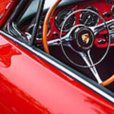1964 Porsche 356 Carrera 2 Steering Wheel Art Print by Jill Reger
