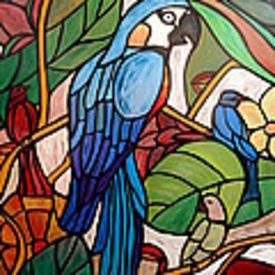 3 Birds On A Vine Art Print by Cynthia Amaral