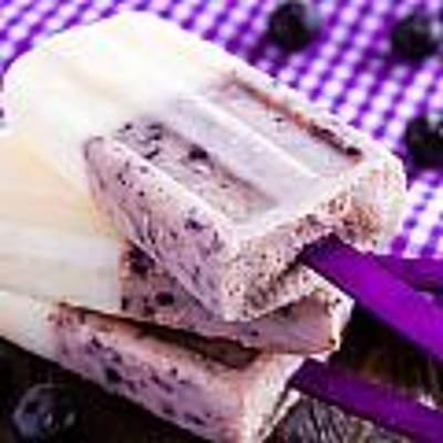 Vanilla And Blueberry Popsicles Original by Teri Virbickis
