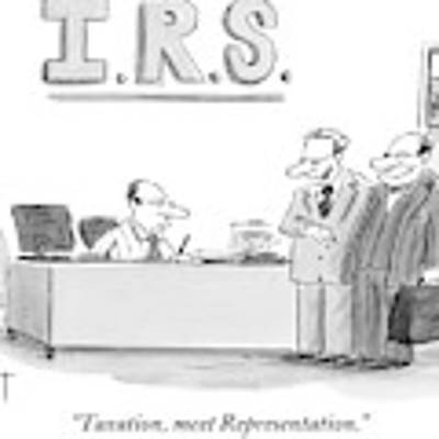 A Man Introduces A Lawyer To An Irs Agent Art Print by Christopher Weyant
