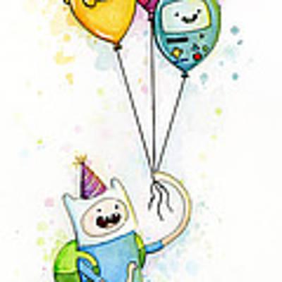 Adventure Time Finn With Birthday Balloons Jake Princess Bubblegum Bmo Art Print by Olga Shvartsur