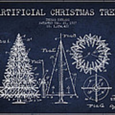 Artifical Christmas Tree Patent From 1927 - Navy Blue Art Print