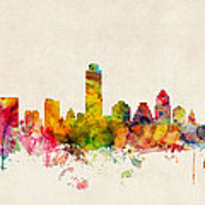 Austin Texas Skyline Art Print by Michael Tompsett