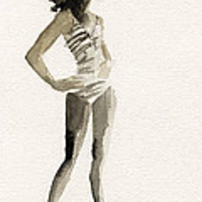 Black And White Stripes 3 Watercolor Fashion Woman Art Print Art Print by Beverly Brown