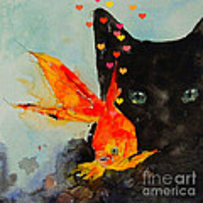 Black Cat And The Goldfish Art Print