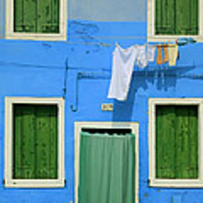 Burano Blue And Green Art Print