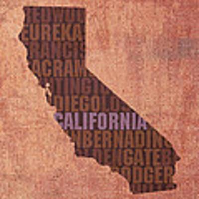California Word Art State Map On Canvas Art Print