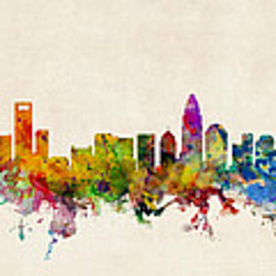 Charlotte North Carolina Skyline Art Print by Michael Tompsett
