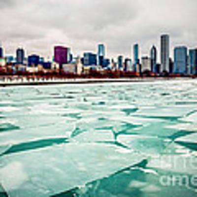 Chicago Winter Skyline Art Print by Paul Velgos