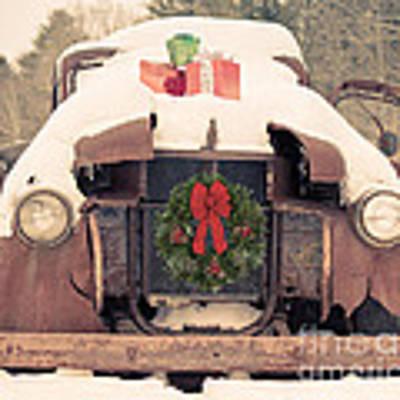 Christmas Car Card Art Print