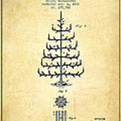 Christmas Tree Patent From 1882 - Vintage Art Print