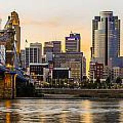 Cincinnati At Sunset From The River Art Print by At Lands End Photography