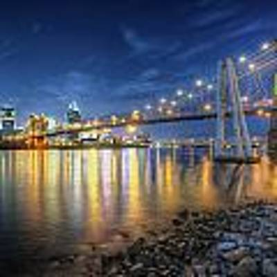 Cincinnati Skyline And Bridge At Night Art Print by At Lands End Photography