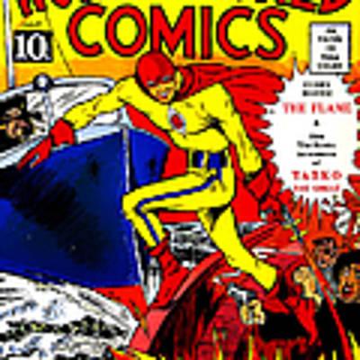 Classic Comic Book Cover - Wonderworld Comics The Flame - 1028 Art Print
