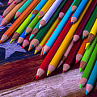 Colored Pencils On Wooden Flag Art Print