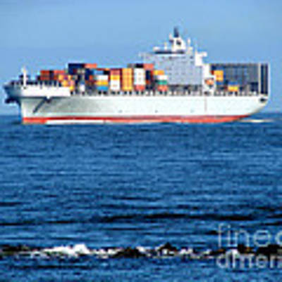 Container Ship Art Print by Olivier Le Queinec