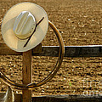 Cowboy Hat And Lasso On Fence Art Print by Olivier Le Queinec