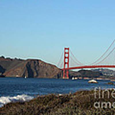 Crashing Waves And The Golden Gate Bridge Art Print