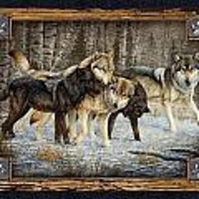 Deco Wolves Art Print