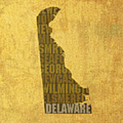 Delaware Word Art State Map On Canvas Art Print by Design Turnpike