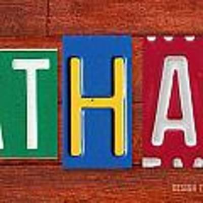 Ethan License Plate Name Sign Fun Kid Room Decor. Art Print