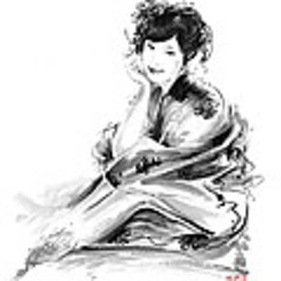 Geisha Geiko Maiko Young Girl Kimono Japanese Japan Woman Sumi-e Original Painting Art Print Art Print