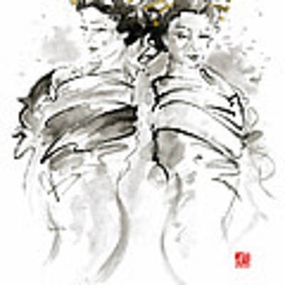 Geisha Japanese Women Woman In Kimono Traditional Original Japan Painting Art Hair Pin Style Design  Original by Mariusz Szmerdt