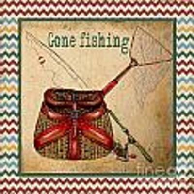Gone Fishing-chevron Original by Jean Plout