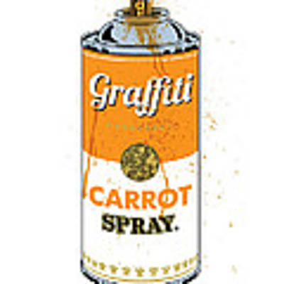 Graffiti Carrot Spray Can Art Print by Gary Grayson