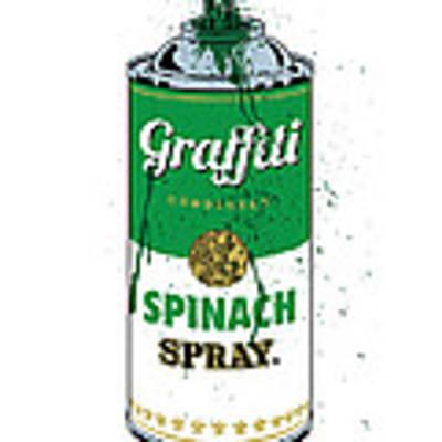 Graffiti Spinach Spray Can Art Print by Gary Grayson