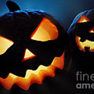 Halloween Pumpkins Closeup -  Jack O'lantern Art Print