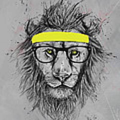 Hipster Lion Art Print by Balazs Solti