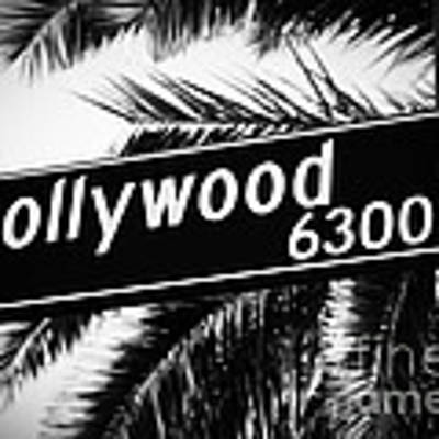 Hollywood Boulevard Street Sign In Black And White Art Print