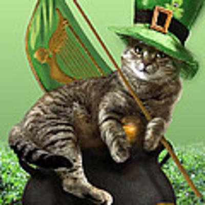 St. Patrick's Day Irish Cat Sitting On A Pot Of Gold Original by Regina Femrite
