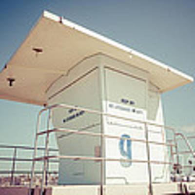 Huntington Beach Lifeguard Tower Retro Photo Art Print by Paul Velgos