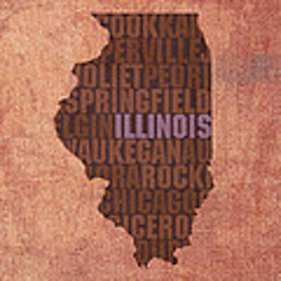 Illinois State Word Art On Canvas Art Print by Design Turnpike