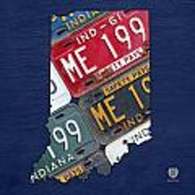 Indiana State License Plate Map Art Print by Design Turnpike